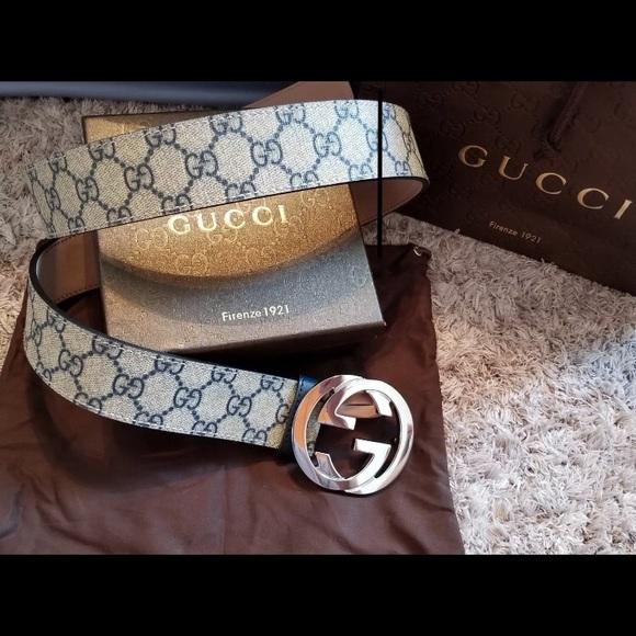 71efed48607 New w  Tags Blue Monogram Gucci Belt